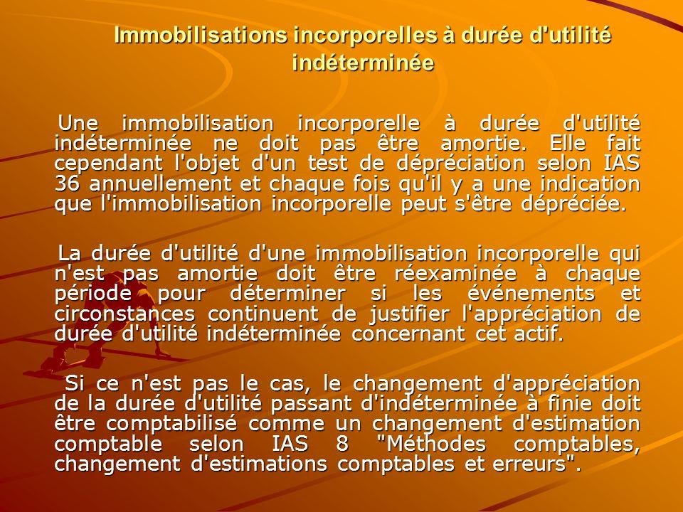 Immobilisations incorporelles à durée d'utilité indéterminée Une immobilisation incorporelle à durée d'utilité indéterminée ne doit pas être amortie.