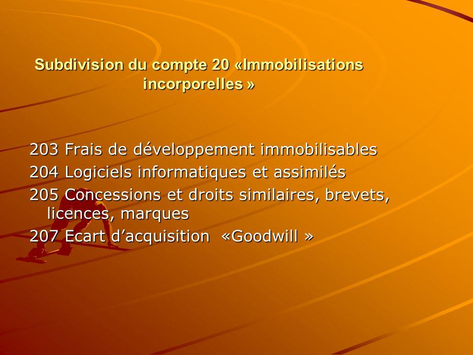 Subdivision du compte 20 «Immobilisations incorporelles » 203 Frais de développement immobilisables 204 Logiciels informatiques et assimilés 205 Conce
