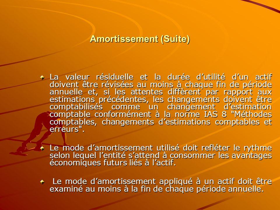 Amortissement (Suite) La valeur résiduelle et la durée d'utilité d'un actif doivent être révisées au moins à chaque fin de période annuelle et, si les