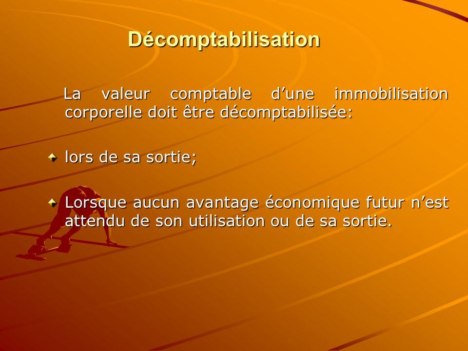 Décomptabilisation La valeur comptable d'une immobilisation corporelle doit être décomptabilisée: La valeur comptable d'une immobilisation corporelle