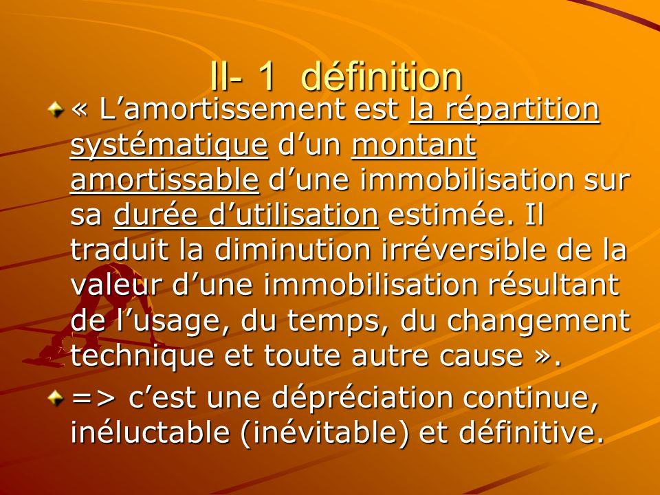 II- 1 définition II- 1 définition « L'amortissement est la répartition systématique d'un montant amortissable d'une immobilisation sur sa durée d'util