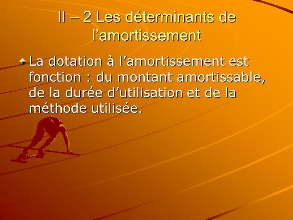 II – 2 Les déterminants de l'amortissement La dotation à l'amortissement est fonction : du montant amortissable, de la durée d'utilisation et de la mé