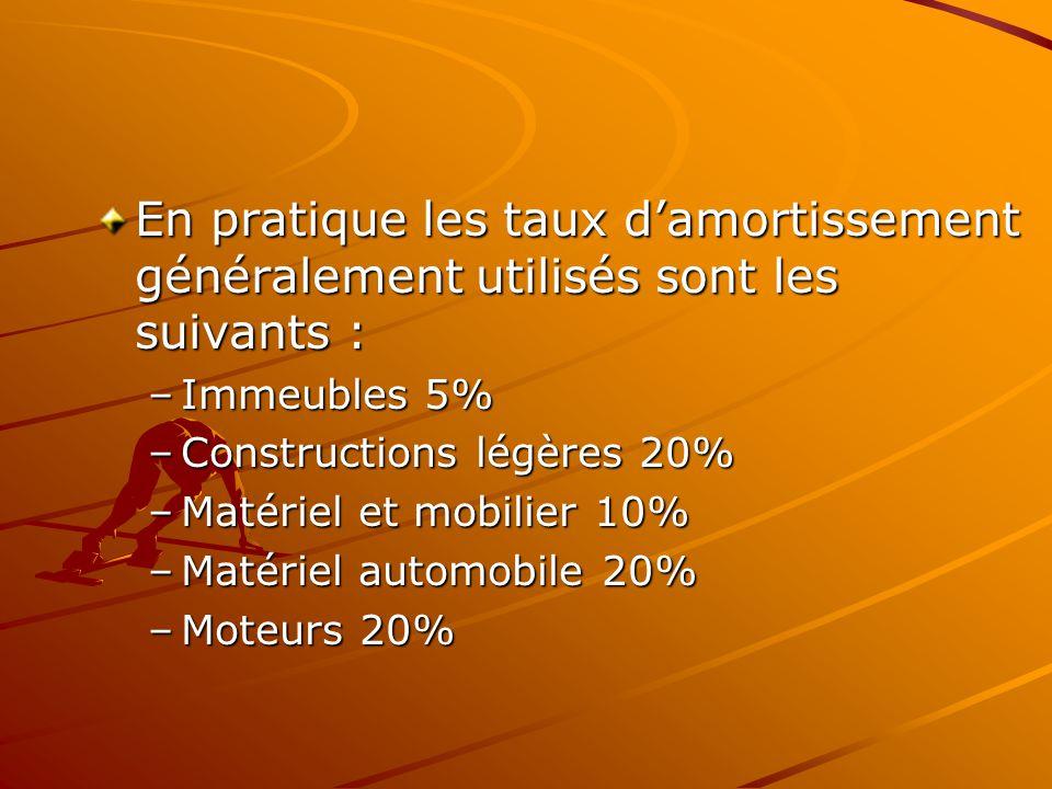 En pratique les taux d'amortissement généralement utilisés sont les suivants : –Immeubles 5% –Constructions légères 20% –Matériel et mobilier 10% –Mat