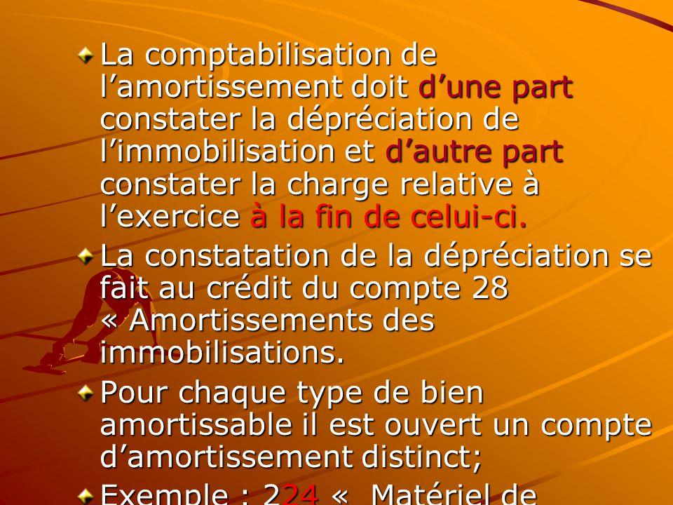 La comptabilisation de l'amortissement doit d'une part constater la dépréciation de l'immobilisation et d'autre part constater la charge relative à l'