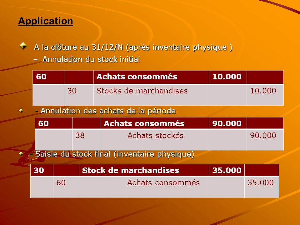 Application A la clôture au 31/12/N (après inventaire physique ) A la clôture au 31/12/N (après inventaire physique ) –Annulation du stock initial - A