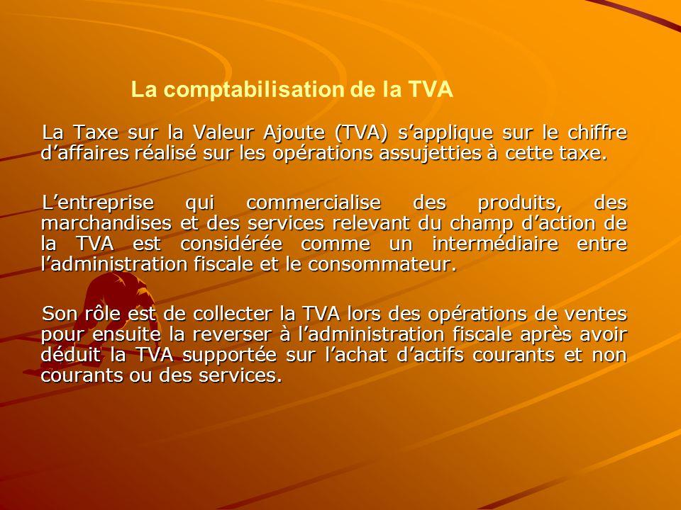 La comptabilisation de la TVA La Taxe sur la Valeur Ajoute (TVA) s'applique sur le chiffre d'affaires réalisé sur les opérations assujetties à cette t