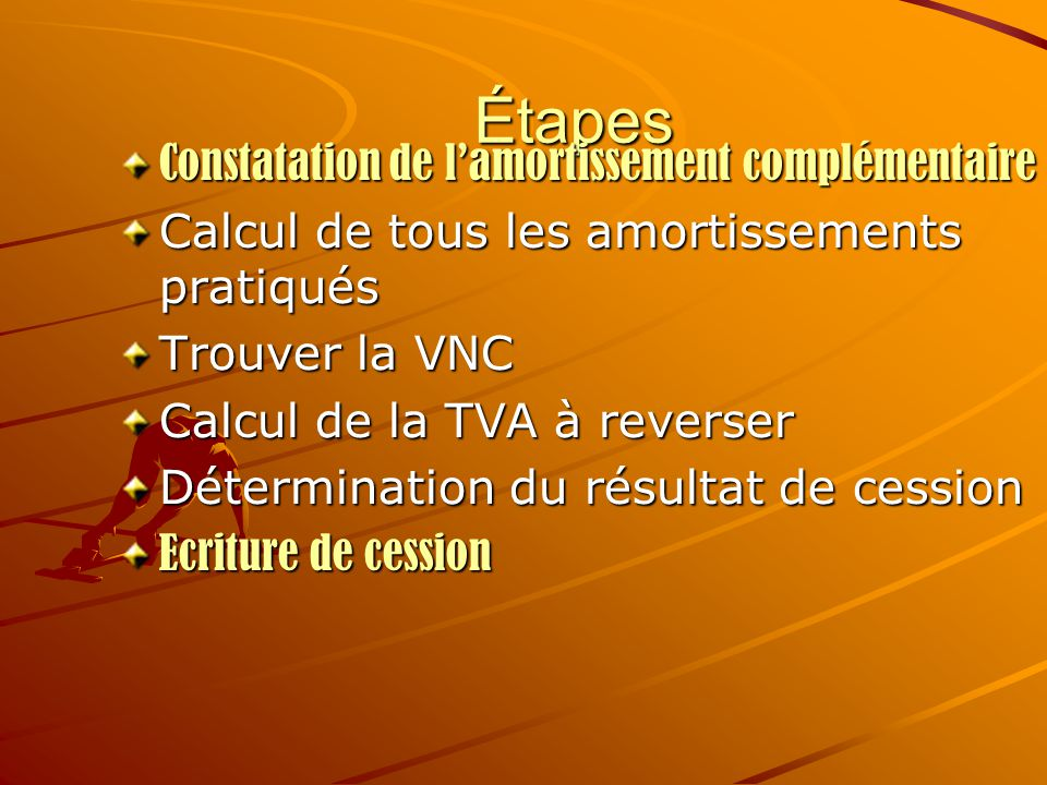 Étapes Constatation de l'amortissement complémentaire Calcul de tous les amortissements pratiqués Trouver la VNC Calcul de la TVA à reverser Détermina