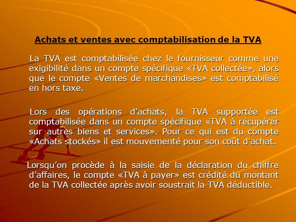 Achats et ventes avec comptabilisation de la TVA La TVA est comptabilisée chez le fournisseur comme une exigibilité dans un compte spécifique «TVA col