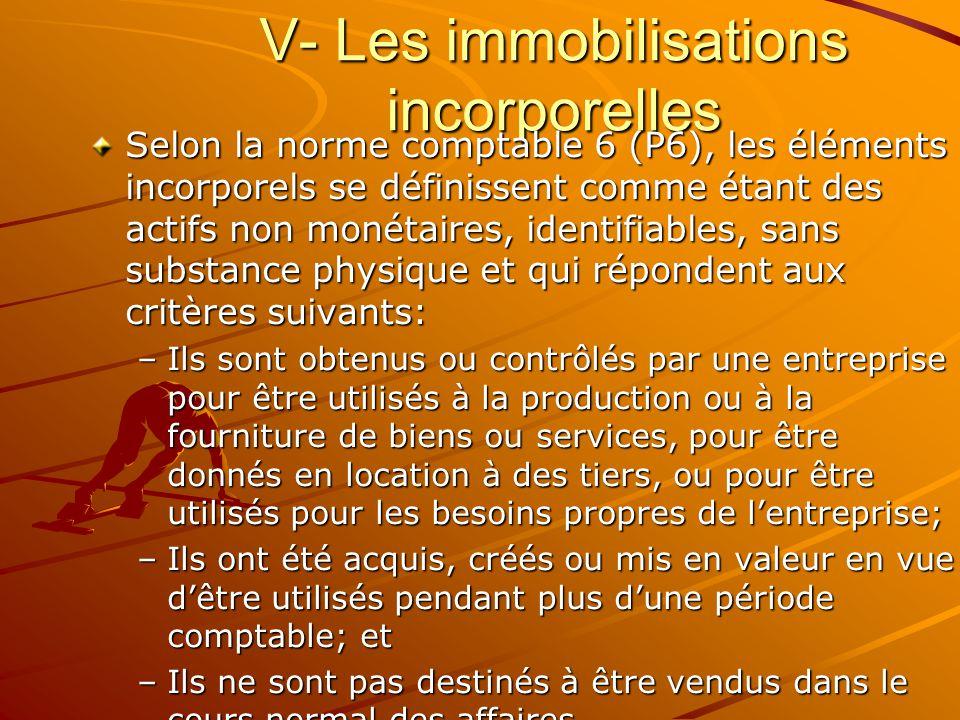 V- Les immobilisations incorporelles Selon la norme comptable 6 (P6), les éléments incorporels se définissent comme étant des actifs non monétaires, i