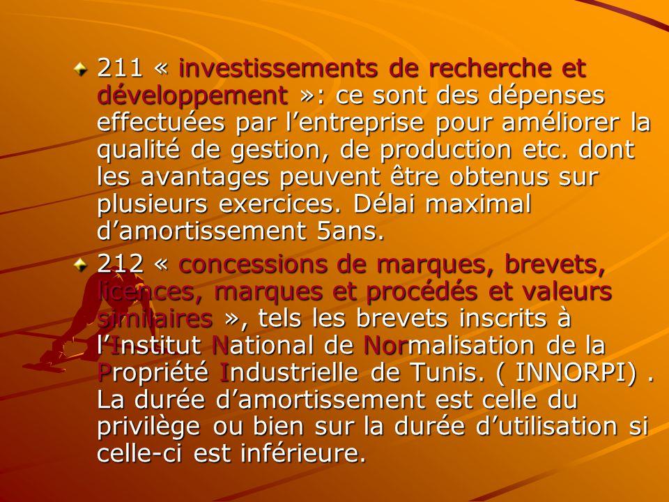 211 « investissements de recherche et développement »: ce sont des dépenses effectuées par l'entreprise pour améliorer la qualité de gestion, de produ