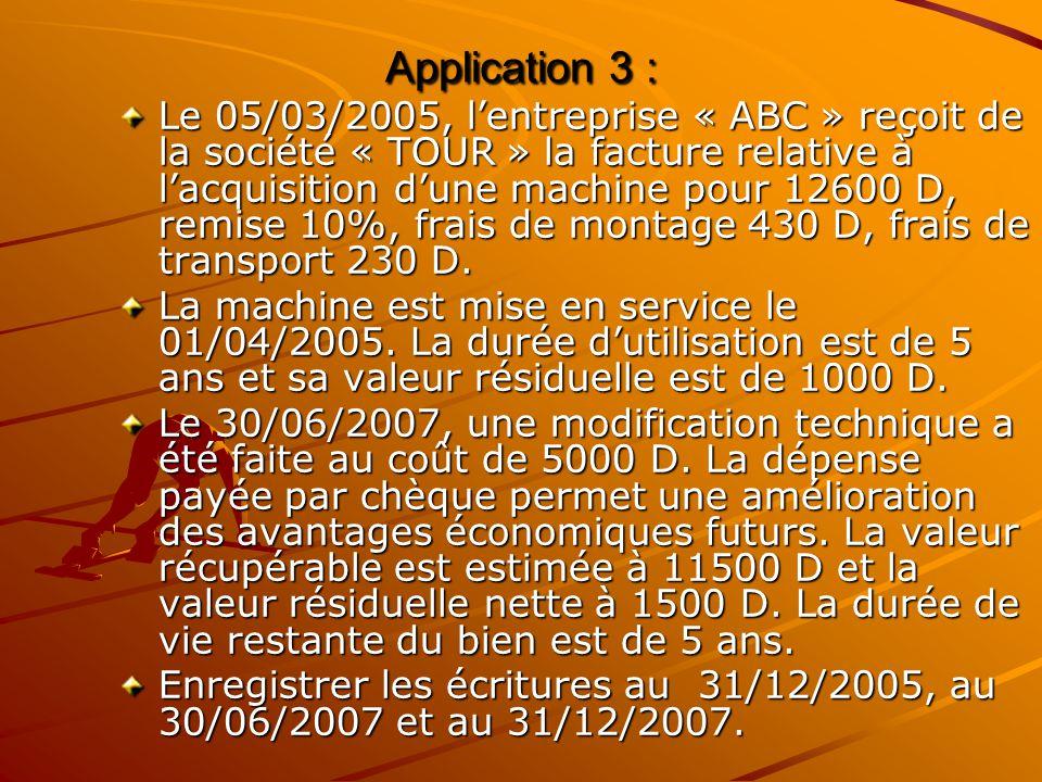 Application 3 : Le 05/03/2005, l'entreprise « ABC » reçoit de la société « TOUR » la facture relative à l'acquisition d'une machine pour 12600 D, remi