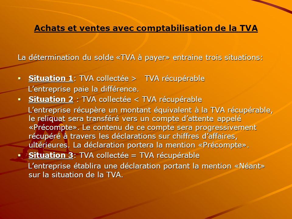 Achats et ventes avec comptabilisation de la TVA La détermination du solde «TVA à payer» entraine trois situations:  Situation 1: TVA collectée > TVA