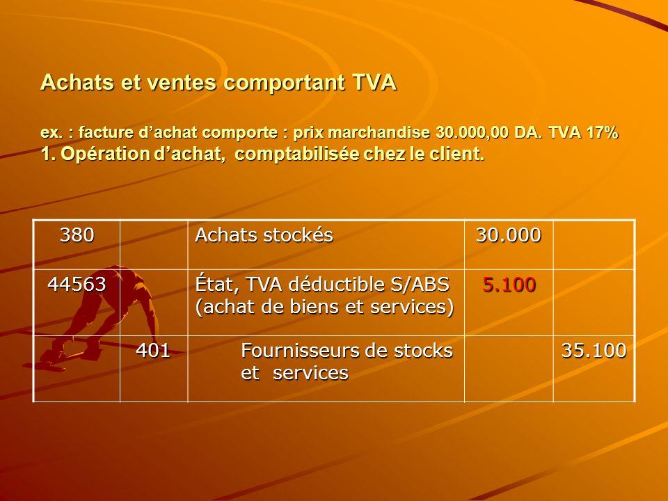Achats et ventes comportant TVA ex. : facture d'achat comporte : prix marchandise 30.000,00 DA. TVA 17% 1. Opération d'achat, comptabilisée chez le cl