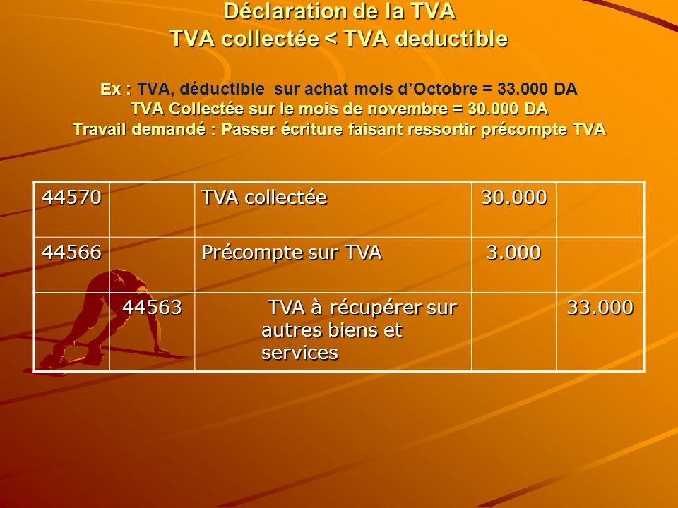 Déclaration de la TVA TVA collectée < TVA deductible Ex : TVA Collectée sur le mois de novembre = 30.000 DA Travail demandé : Passer écriture faisant