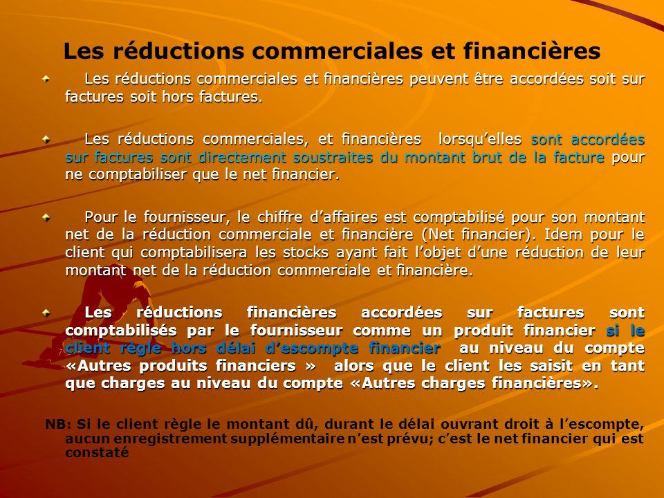 Les réductions commerciales et financières Les réductions commerciales et financières peuvent être accordées soit sur factures soit hors factures. Les