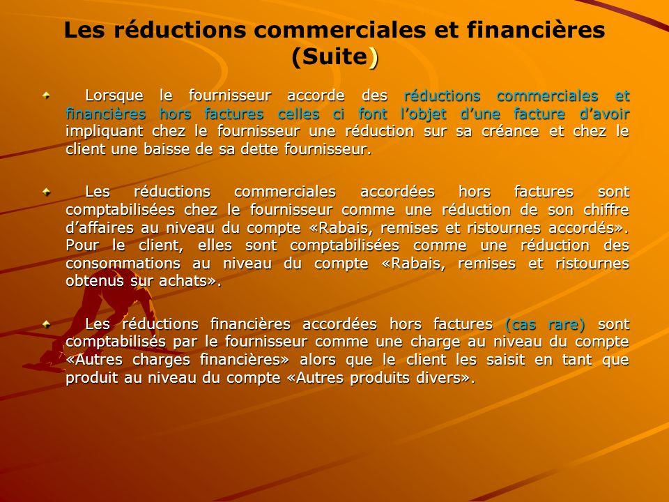 Lorsque le fournisseur accorde des réductions commerciales et financières hors factures celles ci font l'objet d'une facture d'avoir impliquant chez l
