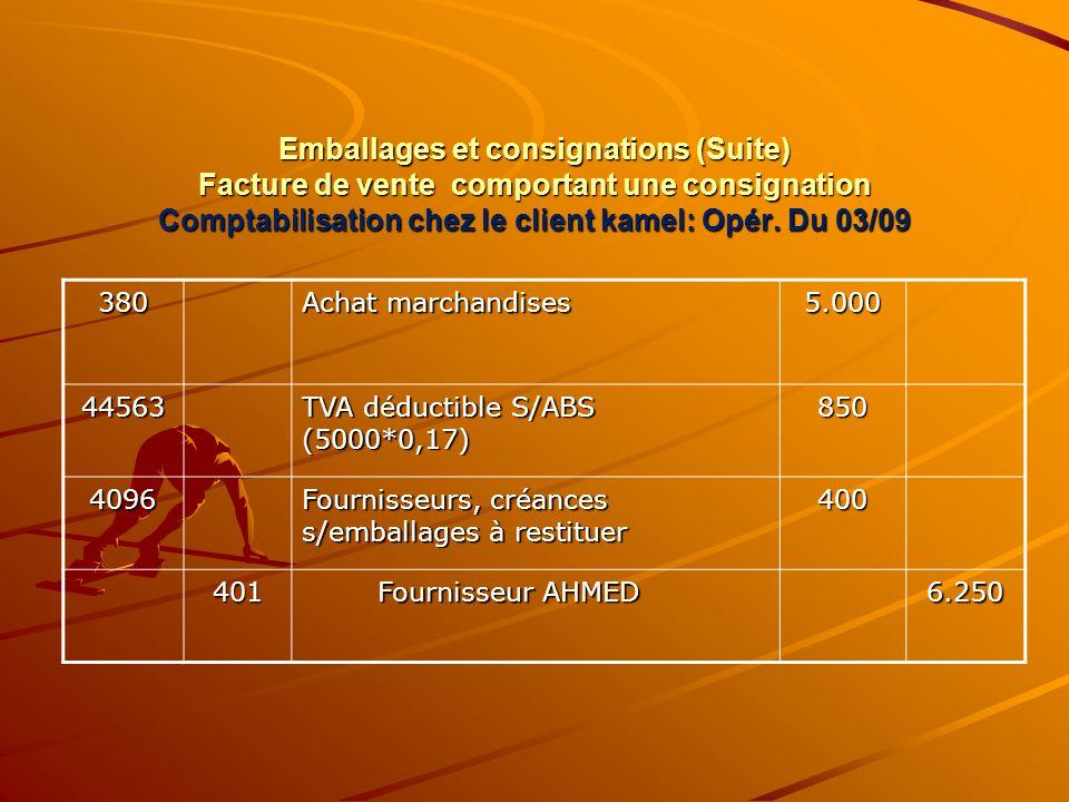 Emballages et consignations (Suite) Facture de vente comportant une consignation Comptabilisation chez le client kamel: Opér. Du 03/09 380 Achat march