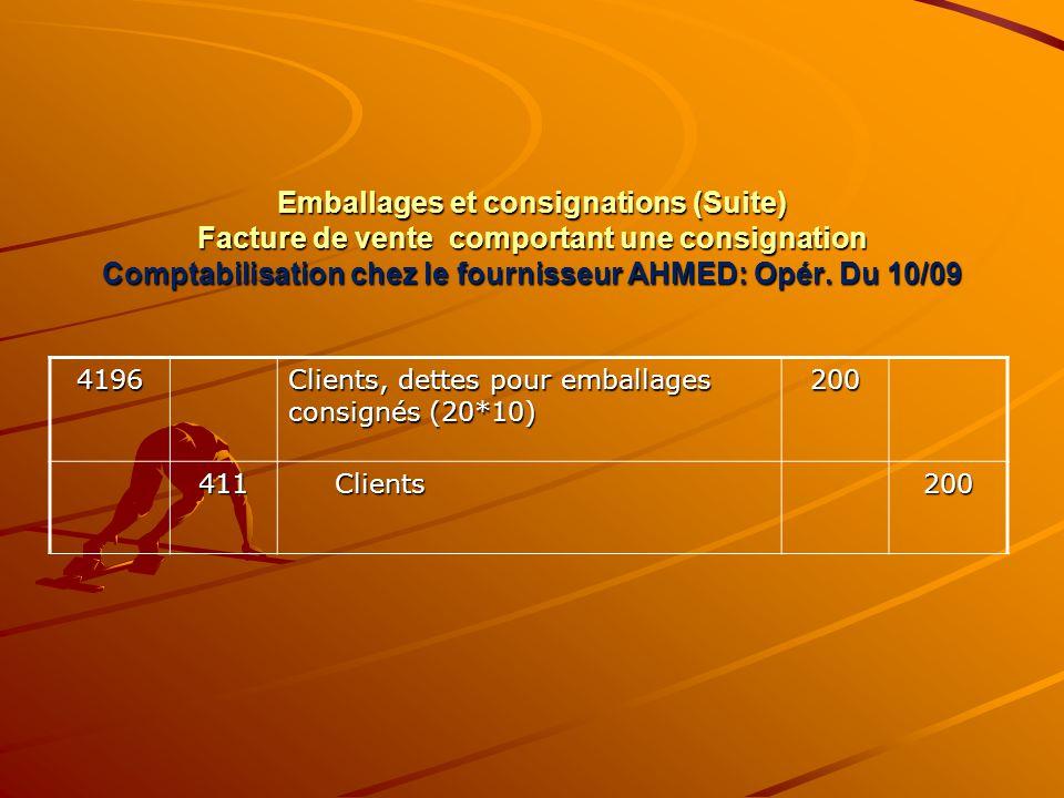 Emballages et consignations (Suite) Facture de vente comportant une consignation Comptabilisation chez le fournisseur AHMED: Opér. Du 10/09 4196 Clien