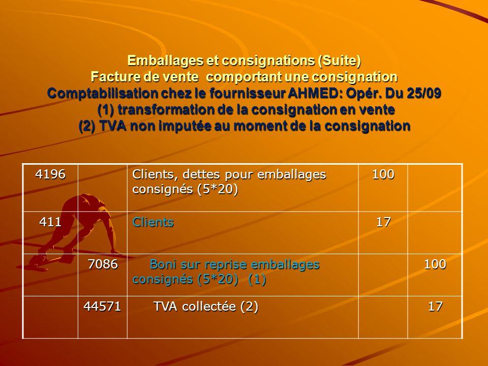 Emballages et consignations (Suite) Facture de vente comportant une consignation Comptabilisation chez le fournisseur AHMED: Opér. Du 25/09 (1) transf