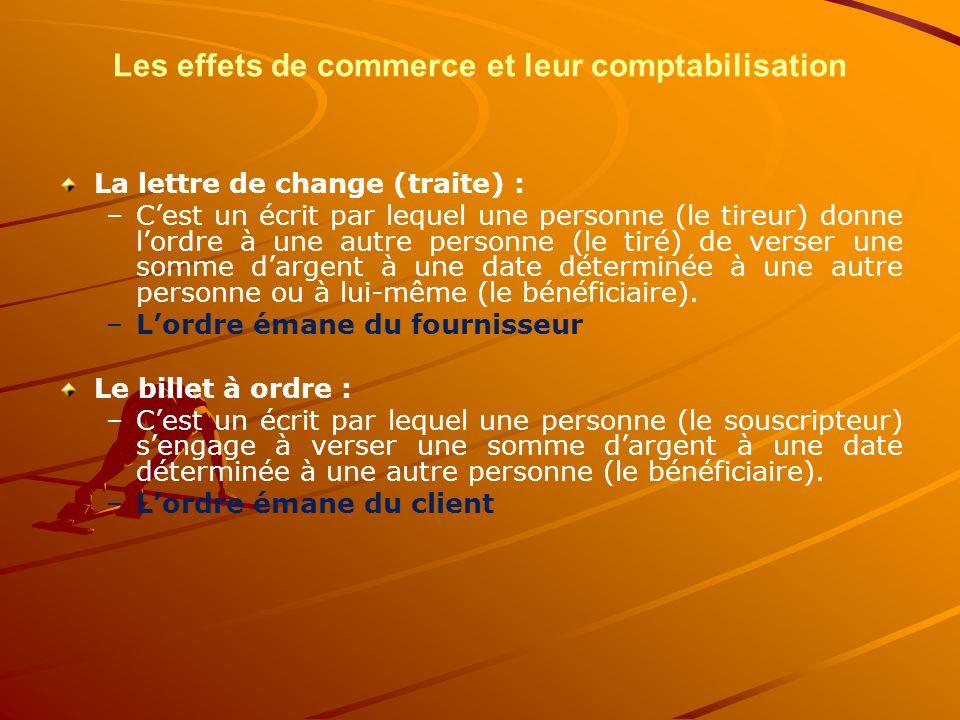 Les effets de commerce et leur comptabilisation La lettre de change (traite) : – –C'est un écrit par lequel une personne (le tireur) donne l'ordre à u