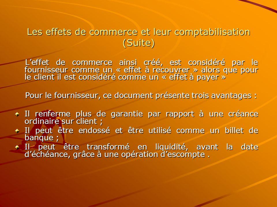 Les effets de commerce et leur comptabilisation (Suite) L'effet de commerce ainsi créé, est considéré par le fournisseur comme un « effet à recouvrer