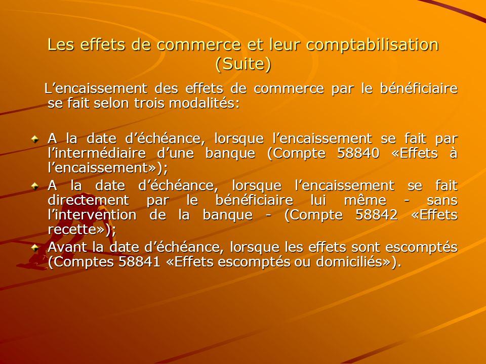 Les effets de commerce et leur comptabilisation (Suite) L'encaissement des effets de commerce par le bénéficiaire se fait selon trois modalités: L'enc