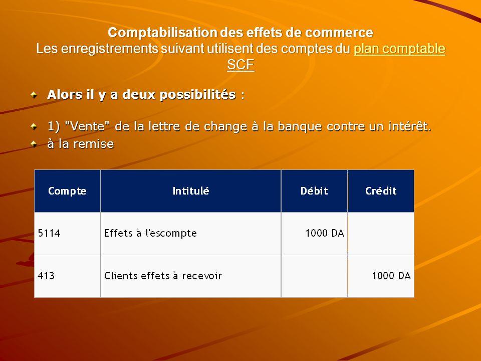 Comptabilisation des effets de commerce Les enregistrements suivant utilisent des comptes du plan comptable SCF plan comptableplan comptable Alors il