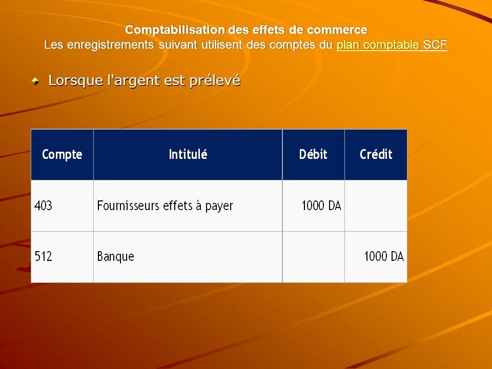 Comptabilisation des effets de commerce Les enregistrements suivant utilisent des comptes du plan comptable SCF plan comptableplan comptable Lorsque l