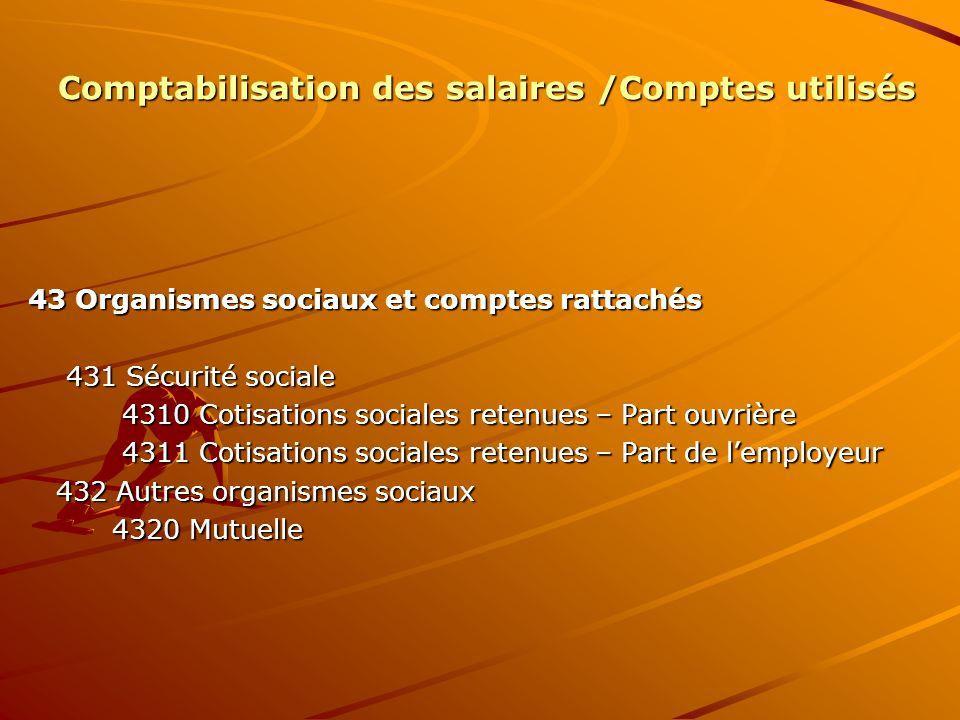 Comptabilisation des salaires /Comptes utilisés 43 Organismes sociaux et comptes rattachés 431 Sécurité sociale 431 Sécurité sociale 4310 Cotisations