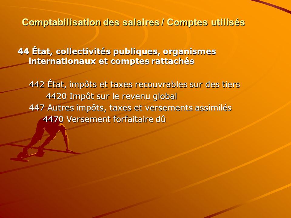 Comptabilisation des salaires / Comptes utilisés 44 État, collectivités publiques, organismes internationaux et comptes rattachés 442 État, impôts et