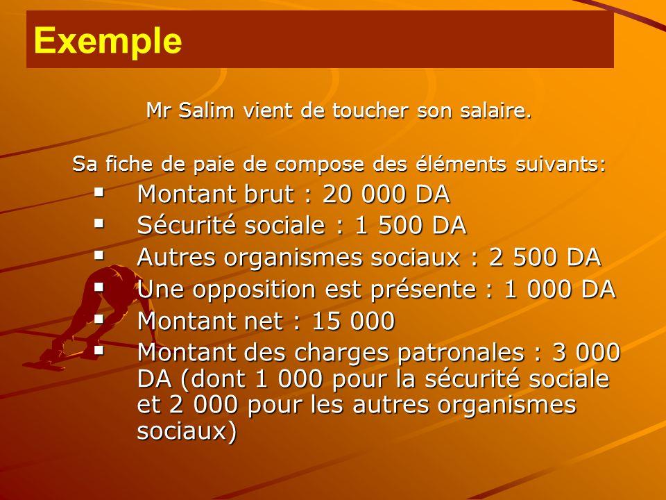 Mr Salim vient de toucher son salaire. Sa fiche de paie de compose des éléments suivants:  Montant brut : 20 000 DA  Sécurité sociale : 1 500 DA  A