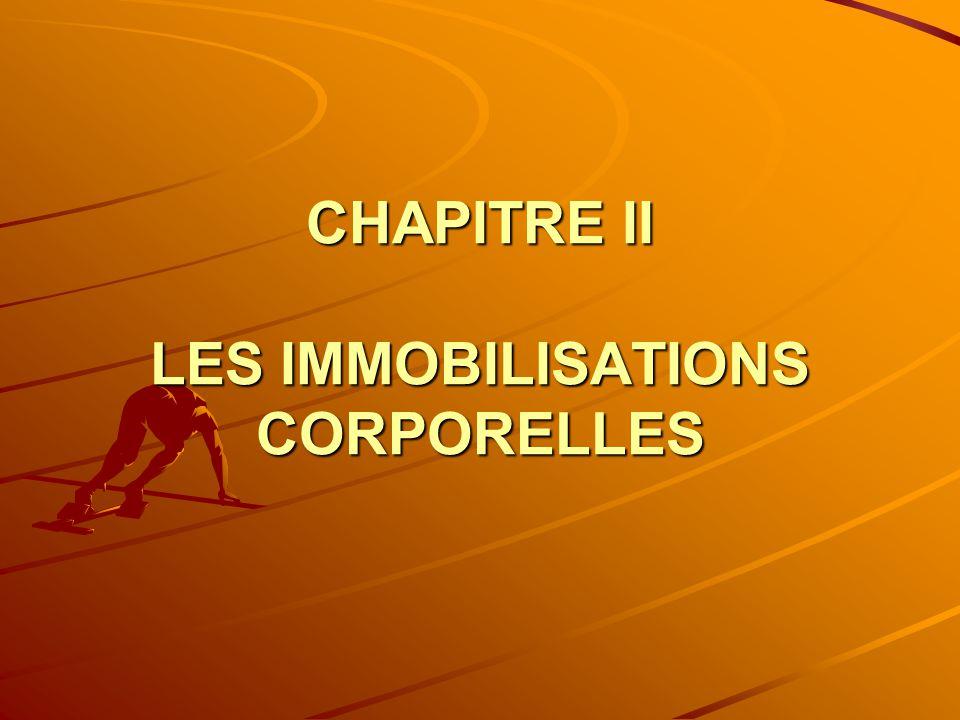 CHAPITRE II LES IMMOBILISATIONS CORPORELLES