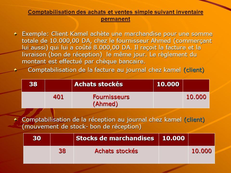 Comptabilisation des achats et ventes simple suivant inventaire permanent Exemple: Client Kamel achète une marchandise pour une somme totale de 10.000