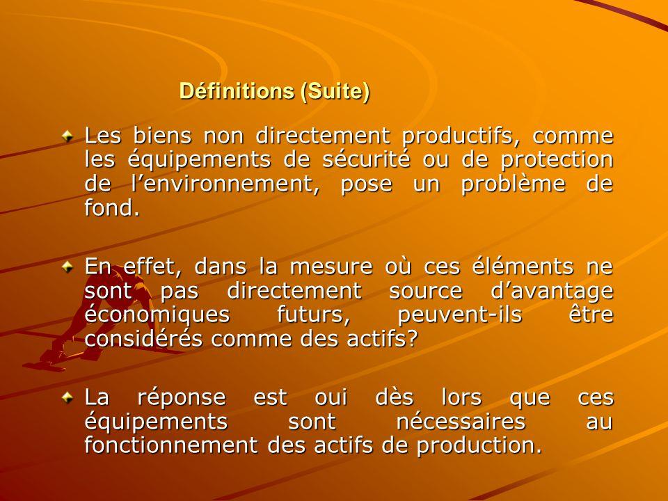 Définitions (Suite) Les biens non directement productifs, comme les équipements de sécurité ou de protection de l'environnement, pose un problème de f