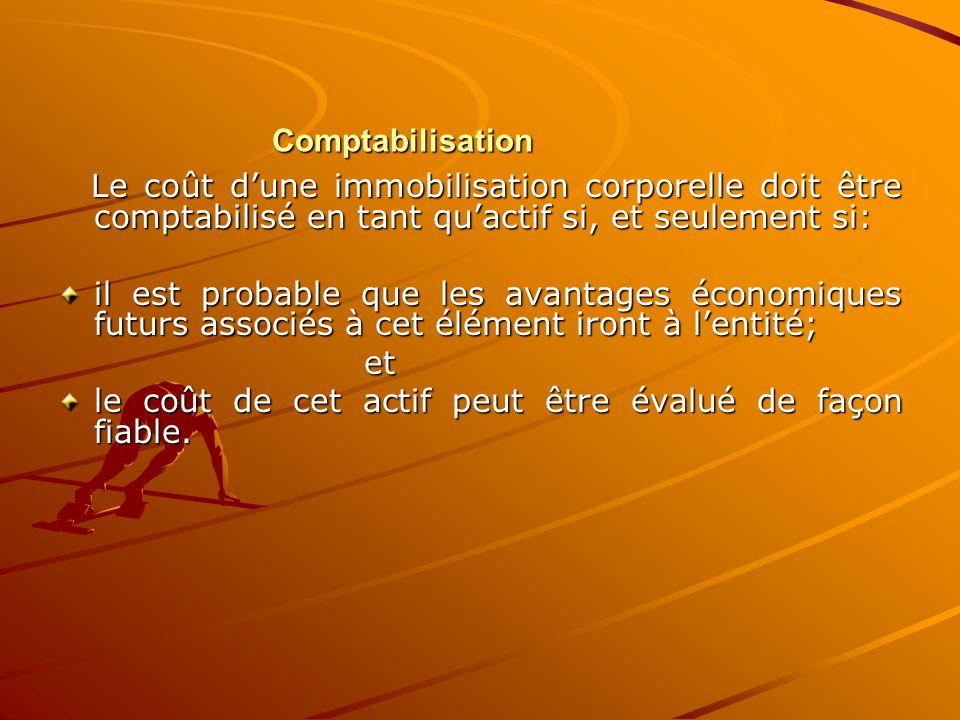 Comptabilisation Le coût d'une immobilisation corporelle doit être comptabilisé en tant qu'actif si, et seulement si: Le coût d'une immobilisation cor