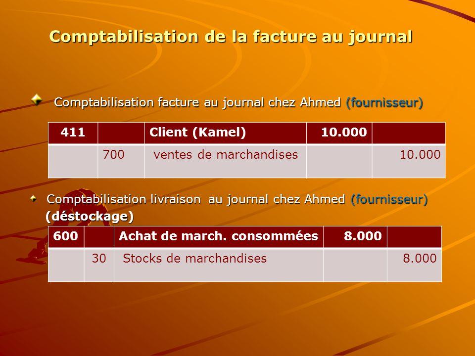 Comptabilisation de la facture au journal Comptabilisation facture au journal chez Ahmed (fournisseur) Comptabilisation facture au journal chez Ahmed