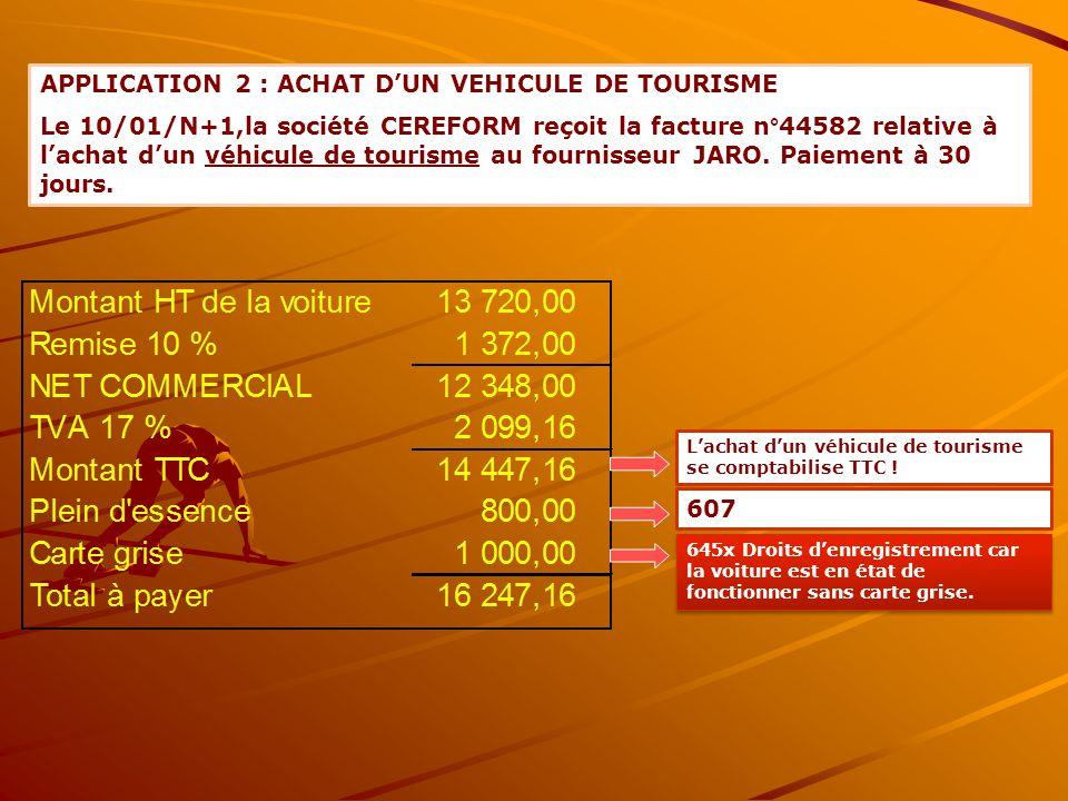 APPLICATION 2 : ACHAT D'UN VEHICULE DE TOURISME Le 10/01/N+1,la société CEREFORM reçoit la facture n°44582 relative à l'achat d'un véhicule de tourism
