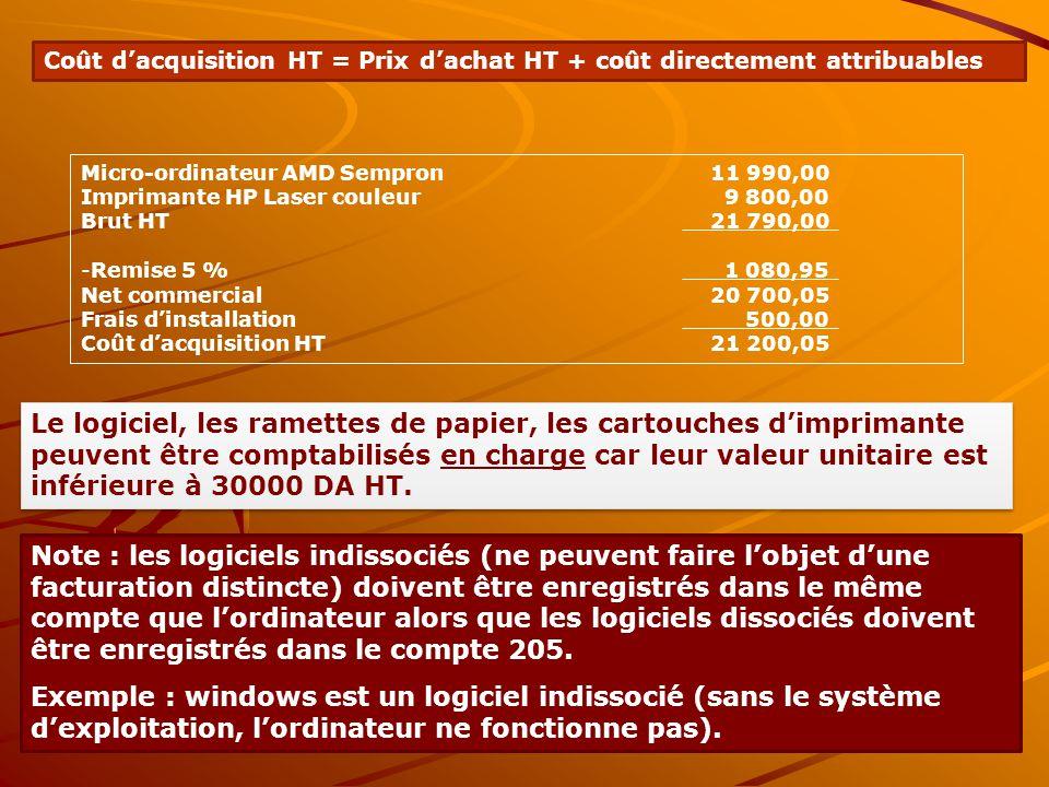 Coût d'acquisition HT = Prix d'achat HT + coût directement attribuables Micro-ordinateur AMD Sempron11 990,00 Imprimante HP Laser couleur 9 800,00 Bru