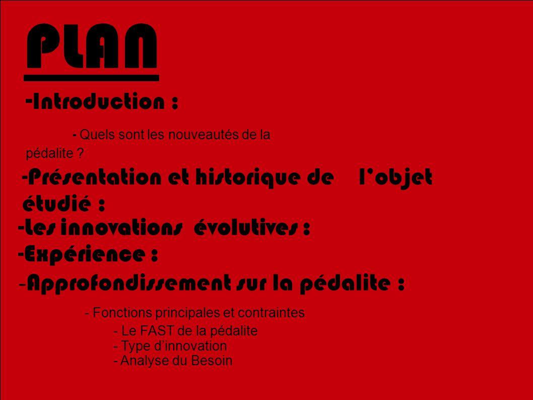 PLAN - Introduction : - Quels sont les nouveautés de la pédalite .