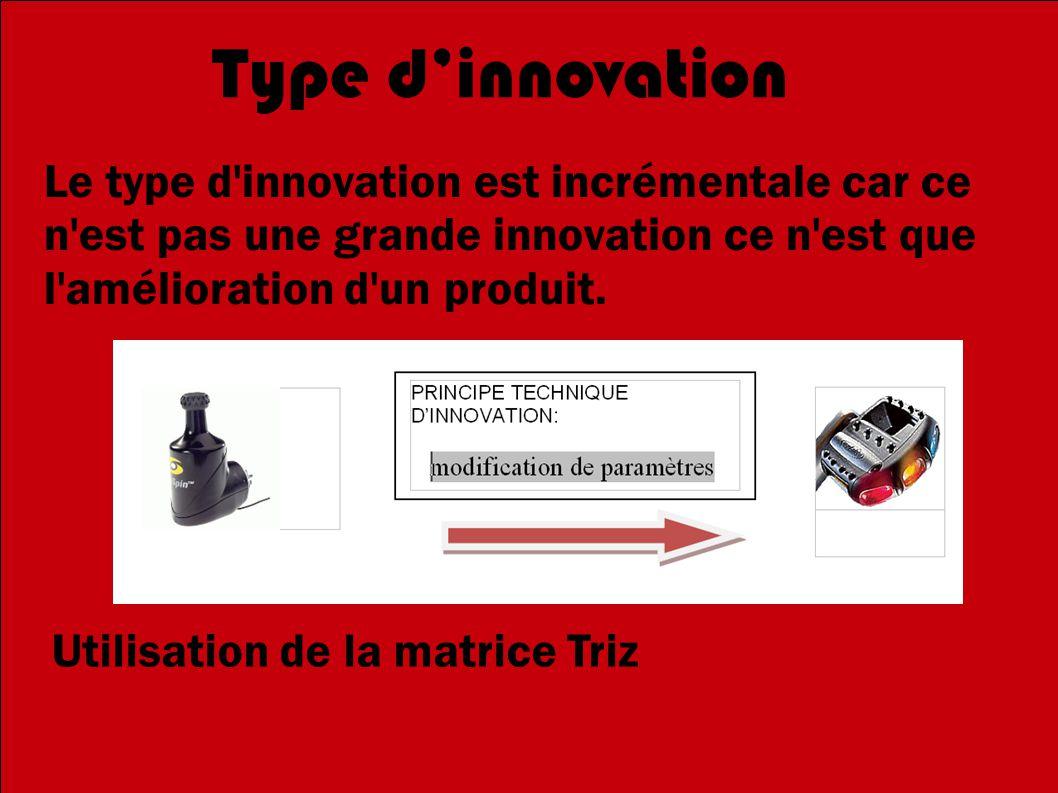 Type d'innovation Le type d innovation est incrémentale car ce n est pas une grande innovation ce n est que l amélioration d un produit.