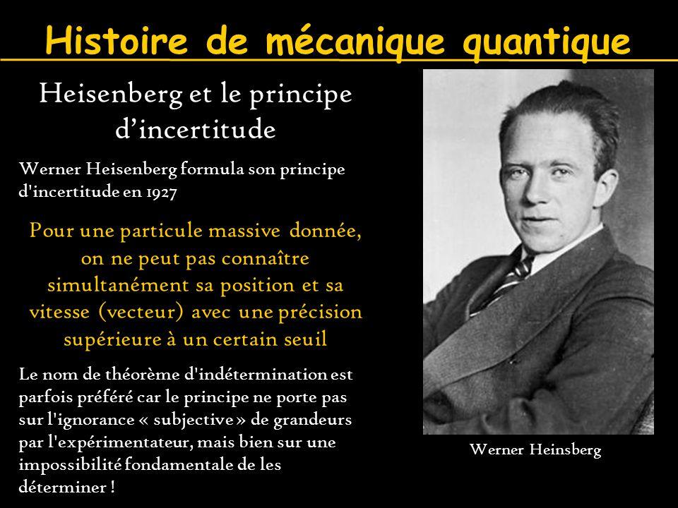 Heisenberg et le principe d'incertitude Werner Heisenberg formula son principe d'incertitude en 1927 Pour une particule massive donnée, on ne peut pas