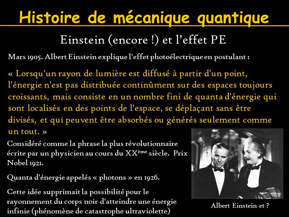 Histoire de mécanique quantique Einstein (encore !) et l'effet PE Mars 1905. Albert Einstein explique l'effet photoélectrique en postulant : « Lorsqu'