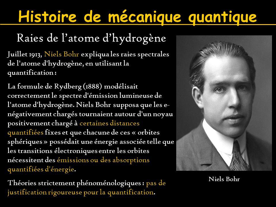 Histoire de mécanique quantique Raies de l'atome d'hydrogène Juillet 1913, Niels Bohr expliqua les raies spectrales de l'atome d'hydrogène, en utilisa