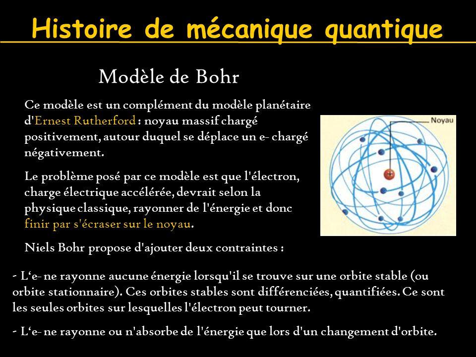 Histoire de mécanique quantique - L'e _ ne rayonne aucune énergie lorsqu'il se trouve sur une orbite stable (ou orbite stationnaire). Ces orbites stab