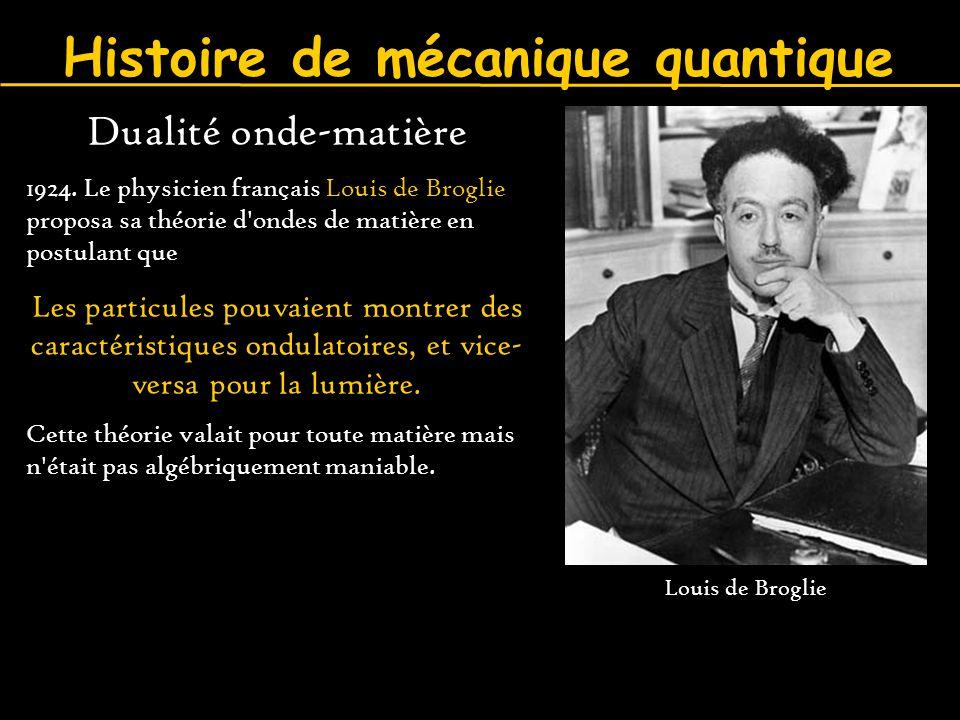 Histoire de mécanique quantique Dualité onde-matière 1924. Le physicien français Louis de Broglie proposa sa théorie d'ondes de matière en postulant q