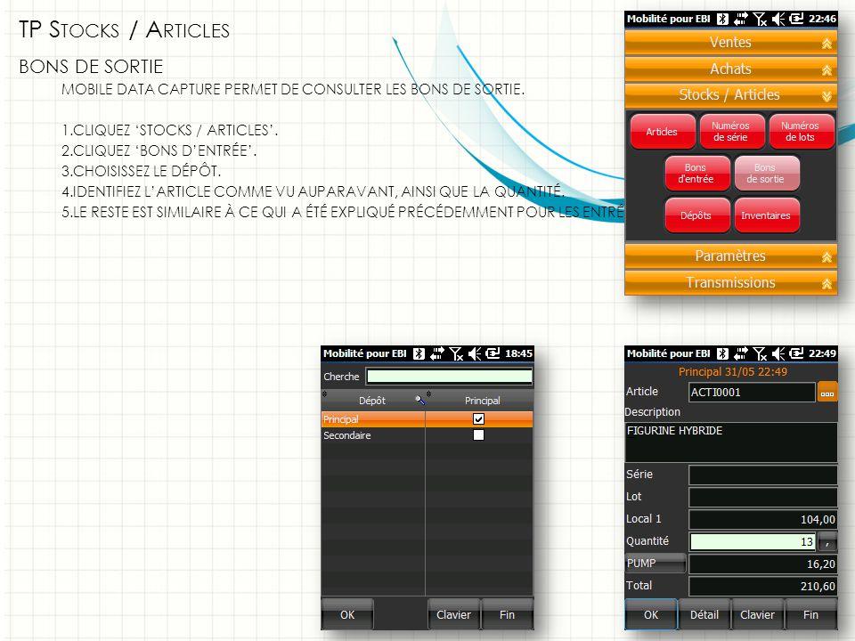 TP S TOCKS / A RTICLES BONS DE SORTIE MOBILE DATA CAPTURE PERMET DE CONSULTER LES BONS DE SORTIE.