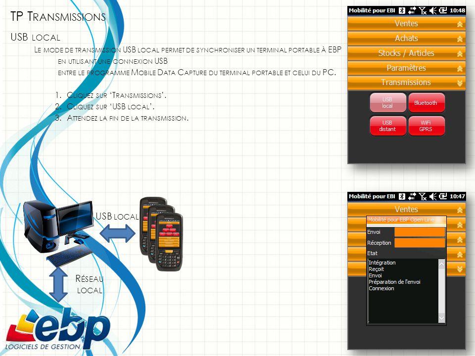 TP T RANSMISSIONS USB LOCAL L E MODE DE TRANSMISSION USB LOCAL PERMET DE SYNCHRONISER UN TERMINAL PORTABLE À EBP EN UTILISANT UNE CONNEXION USB ENTRE LE PROGRAMME M OBILE D ATA C APTURE DU TERMINAL PORTABLE ET CELUI DU PC.