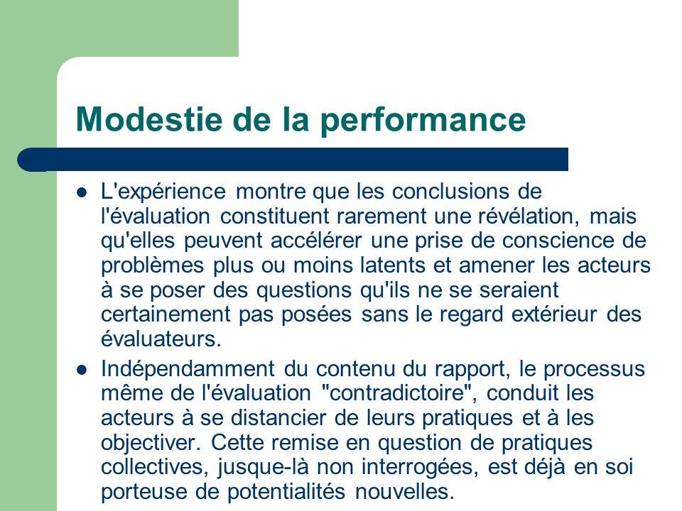 Modestie de la performance L'expérience montre que les conclusions de l'évaluation constituent rarement une révélation, mais qu'elles peuvent accélére