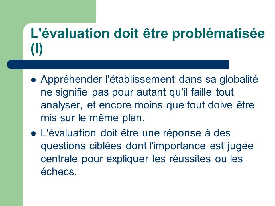 L'évaluation doit être problématisée (I) Appréhender l'établissement dans sa globalité ne signifie pas pour autant qu'il faille tout analyser, et enco