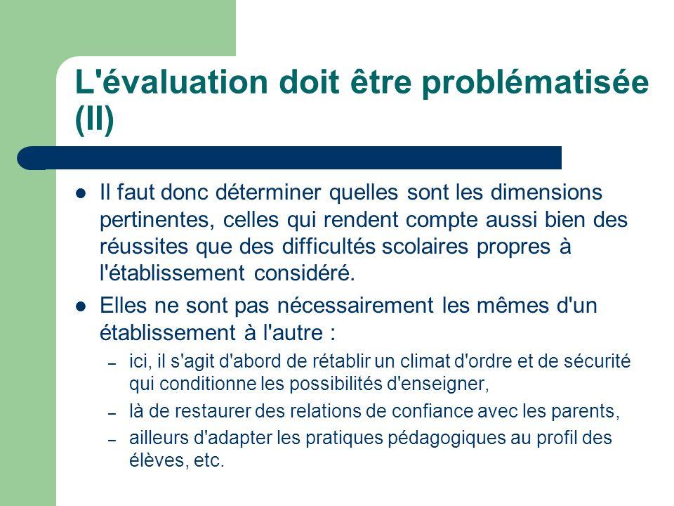 L évaluation doit être problématisée (II) Il faut donc déterminer quelles sont les dimensions pertinentes, celles qui rendent compte aussi bien des réussites que des difficultés scolaires propres à l établissement considéré.